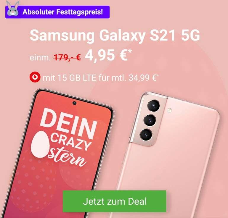 Samsung Galaxy S21 5G (4,95€) + 4 Monate YouTube Premium gratis + Vodafone Allnet- & SMS-Flat mit 15GB LTE für 34,99€ mtl.