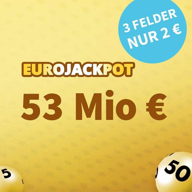 53 Mio. € im Pott - 3 Felder EuroJackpot 2€ (statt 6€, NK) + Gratistipp & weitere Aktionen