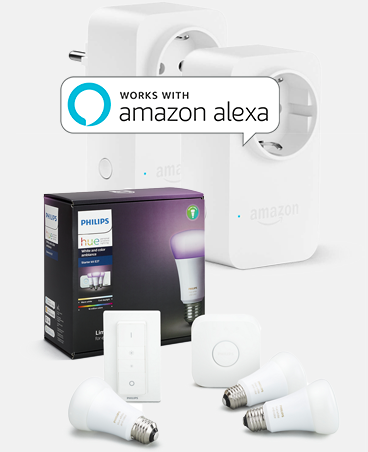 Philips Hue White & Color Ambiance Starter Kit + 2x Amazon Smart Plug zu 149,85€