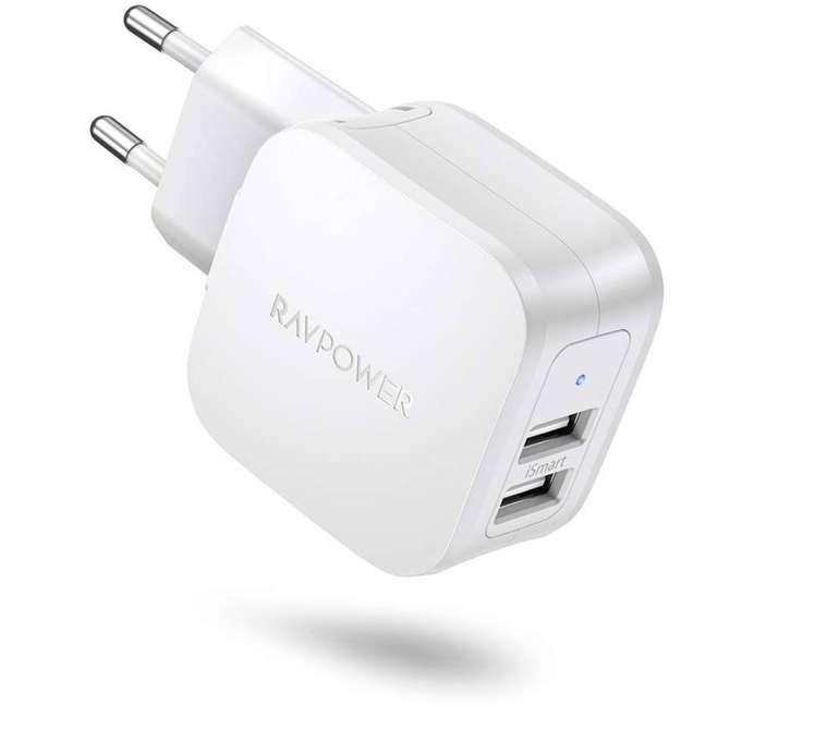 RAVPower USB Ladegerät 2-Port für 4,49€ inkl. Prime Versand (statt 8€)