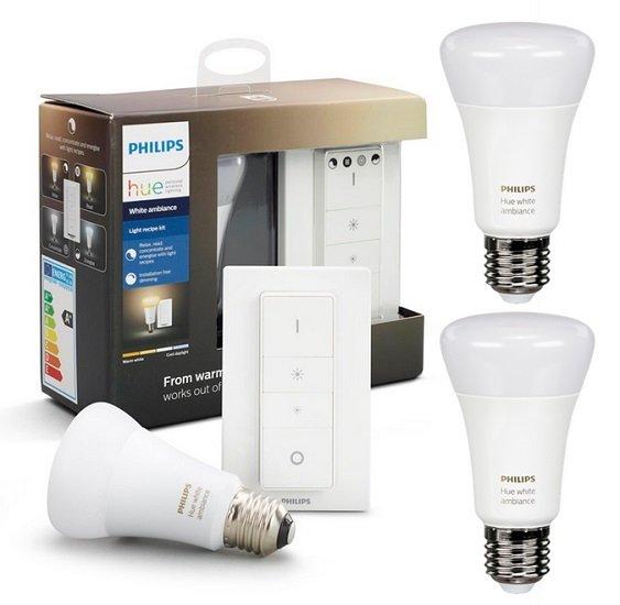 Philips Hue White Ambiance Light Recipe Kit E27 mit Dimmschalter + 2 Extra Lampen (Bluetooth) für 51,90€