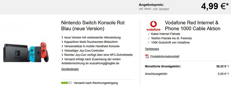 Vodafone Red Internet & Phone 1000 Cable Nintendo Switch
