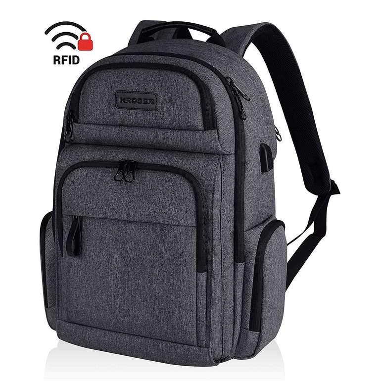 """Kroser Laptop Rucksack für 15,6"""" Notebooks (USB-Ladeanschluss, RFID-Schutz) für 21,44€"""