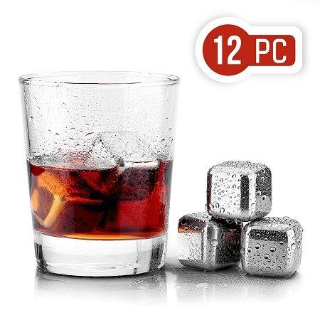12 Uten Eiswürfel (Whisky-Steine) aus Edelstahl für 11,99€ inkl. Versand