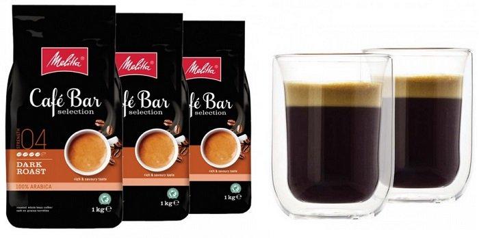 4x 1kg Cafe Bar Kaffeebohnen + 2 doppelwandige Gläser nur 29,99€ inkl. Versand