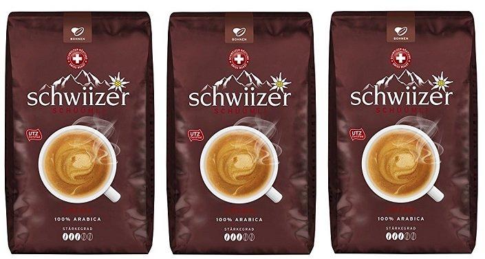 3er Pack Schwiizer Crema Ganze Kaffeebohnen (3 x 500 g) für 11,23€ (statt 23€)