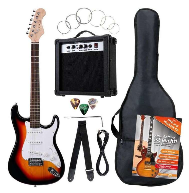 8-tlg. Rocktile Banger's Pack E-Gitarren Komplettset Sunburst für 86€ (B-Ware) - Newsletter Gutschein!