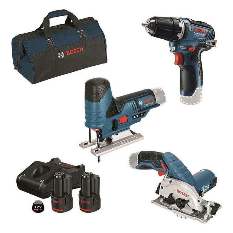 Bosch 12 V Akku Set (GSR 12 V-35, GST 12 V-70, GKS 12 V-26, 2 x Akku 3 Ah, Tasche) für 269,10€