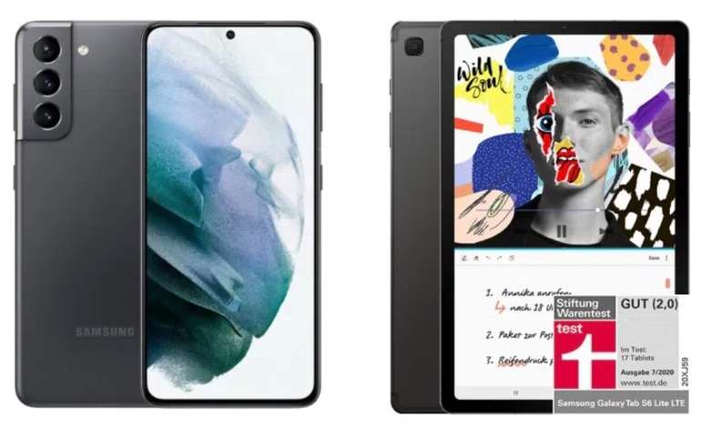 Samsung Galaxy S21 5G + Galaxy Tab S6 Lite WiFi (149€) + Vodafone Allnet-Flat mit 30GB LTE/5G für 37,99€ mtl.