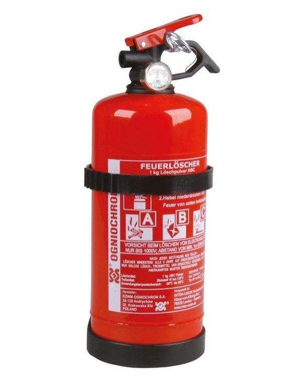 Unitec Feuerlöscher für KFZ (1kg, ABC-Pulver, mit Druckhebelventil + Manometer, Nachfüllbar) für 9,99€