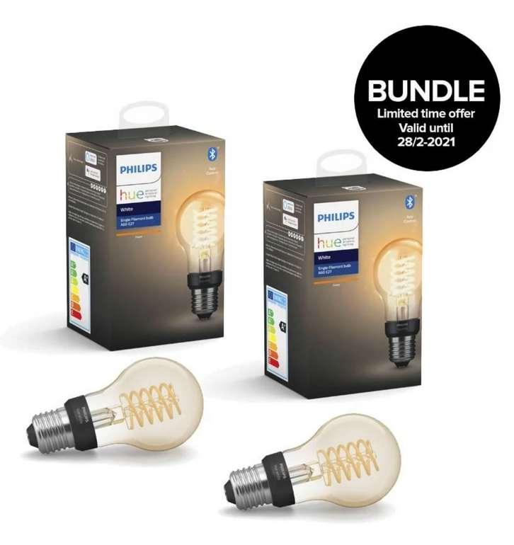 Starke Philips Hue Angebote im Coolshop, z.B. 2x Philips Hue - Filament Vintage-Lampe E27 A60 für 29€ inklusive Versand (statt 40€)