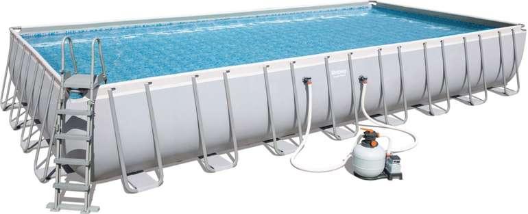 Bestway Power Steel Frame Pool Komplett-Set (956 x 488 x 132 cm) mit Sandfilteranlage (56623) für 1399€