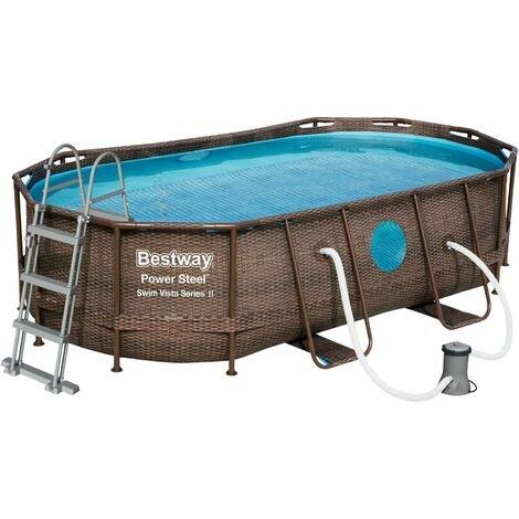 Bestway (56714) Power Steel Pool Oval Set in Rattanoptik (427x250x100 cm) für 341,90€ inkl. Versand (statt 400€)
