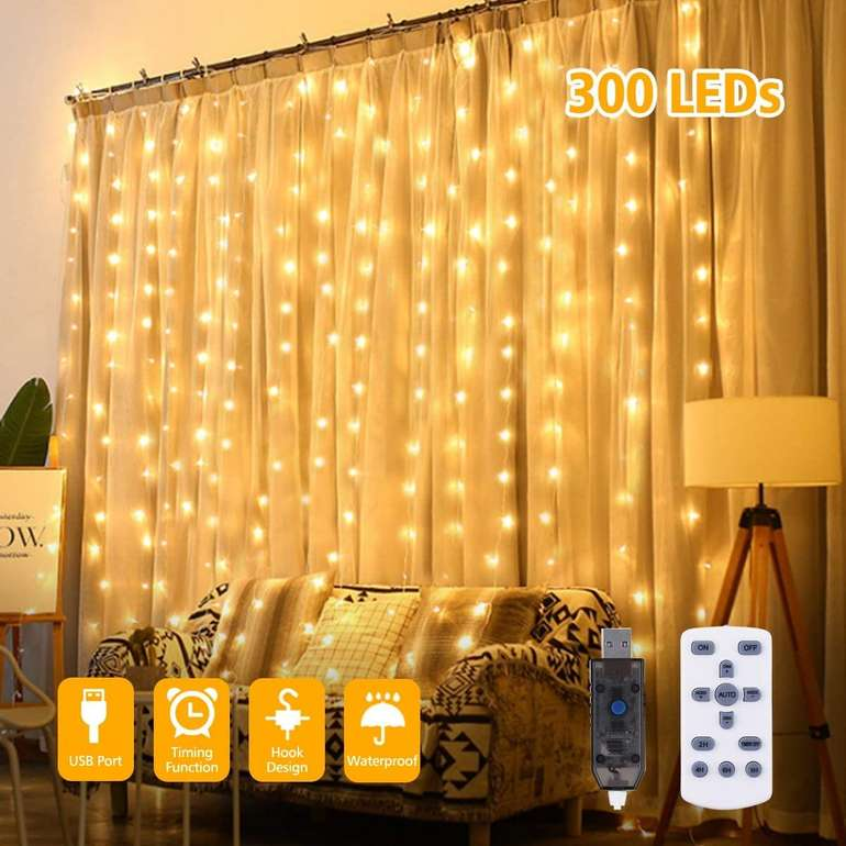 Glime LED Lichtervorhang (3x3 Meter, 300 LEDs) für 9,89€ inkl. Prime Versand (statt 15€)