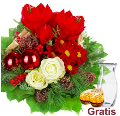 """Blumenstrauß """"Weihnachten"""" mit Vase & 2 Ferrero Rocher für 19,98€ inkl. Versand"""