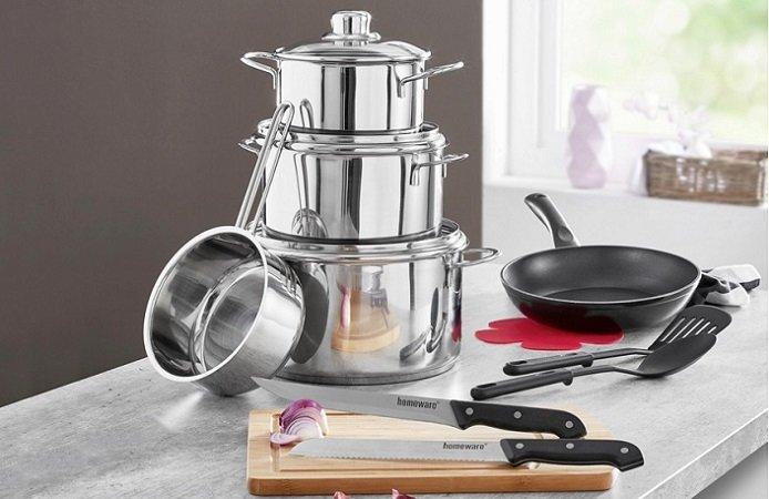 XXXL: Küchen Starterset mit Töpfen, Pfanne, Brett und Küchenhelfern für 43,94€