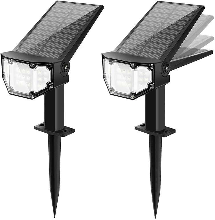 Sefon 2er Pack LED Solarstrahler (IP67, 2 Helligkeiten) für 7,80€ inkl. Prime Versand (statt 26€)