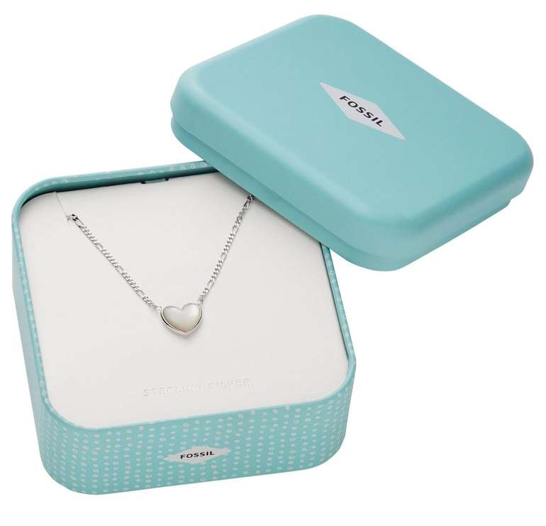 Fossil Damen Halskette Heart Mother-Of-Pearl (Sterling Silver) für 48,30€ inkl. Versand (statt 57€)