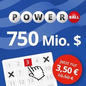 3 Felder PowerBall (750 Mio. $) für 3,50€ statt 10,50€ (Lottohelden, Neukunden)