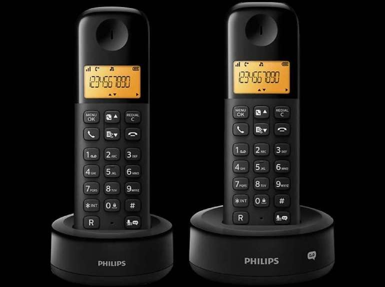 Doppelpack Philips D1352B/38 Schnurlostelefone mit Anrufbeantworter für 22€