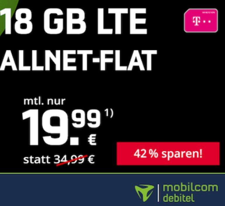 Letzte Chance! Black Week Angebot: Telekom Allnet & SMS Flat mit 18GB LTE (50 Mbit) für 19,99€ mtl.