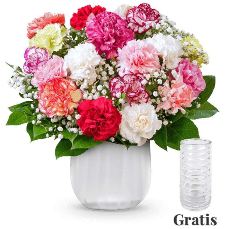 BlumeIdeal: 15% auf fast alle Blumensträuße (außer Deals) - z.B. Nelkenstrauß Rainbow + Vase für 24,53€