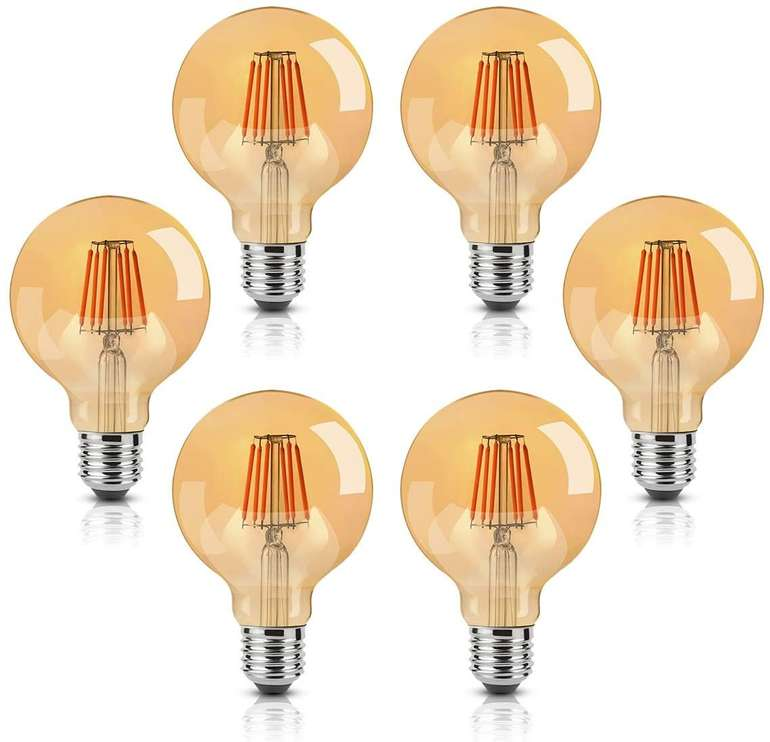 6er Pack Onivib LED Edison Glühbirne (8W, E27, Warmweiß 2700K, 800LM) für 18,99€ inkl. Prime Versand (statt 27€)