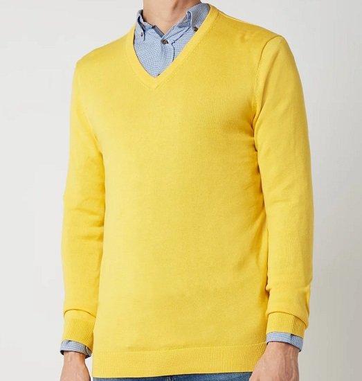 MONTEGO Pullover mit V-Ausschnitt in Gelb, Grün oder Blau für je 7,49€ (statt 20€) - Gr. M, XL, XXL