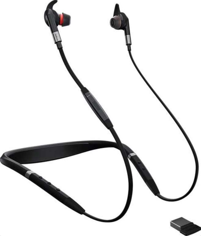 Jabra Evolve 75e Bluetooth-In-Ears mit Nackenbügel (ANC, ~14h Akku, IP54) für 59€ (statt 70€) - refurbished!