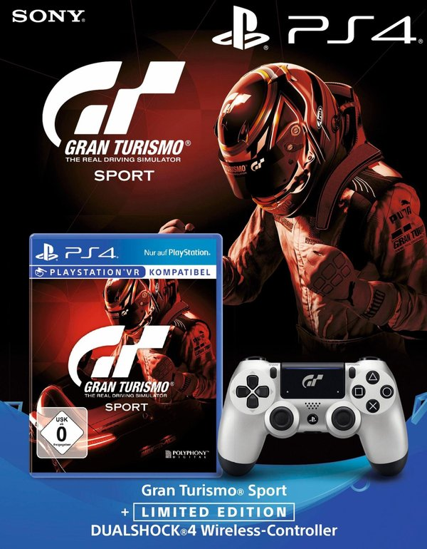 Gran Tourismo Sport (PS4) + Wireless Dualshock Controller (GT Edition) ab 49,99€
