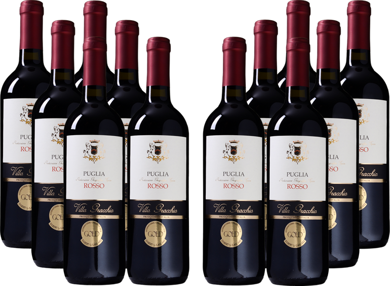 12 Flaschen goldprämierter Villa Gracchio - Rosso - Puglia IGT Wein für 45€