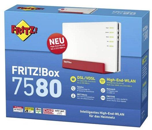 AVM FRITZ!Box 7580 WLAN Router VDSL, ADSL 2,4GHz für 159,93€ inkl. Versand (statt 235€)