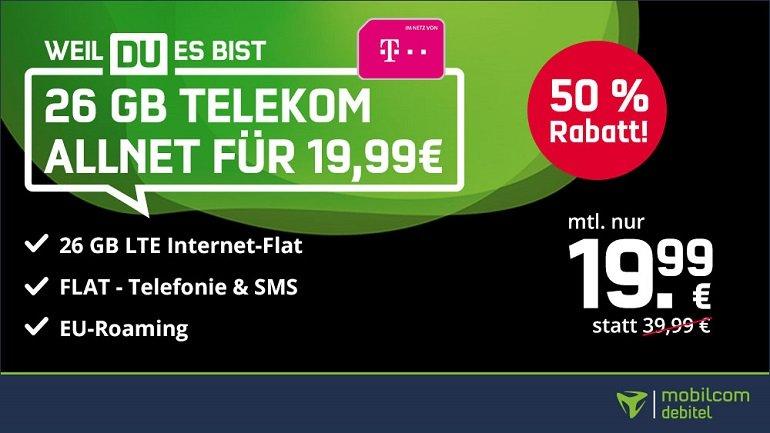 Mobilcom-Debitel Telekom green Allnet- und SMS- Flat mit 26GB LTE 2