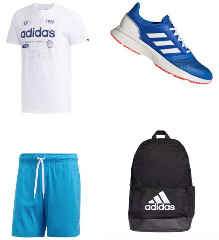 Adidas Sommer Outfit (T-Shirt, Badeshort, Nova Flow Sneaker und Rucksack) für 69,96€ inkl. Versand