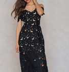 NA-KD Sale bis -60% + 15% Extra, z.B. Shoulder Crochet Midi Dress Black 21,88€