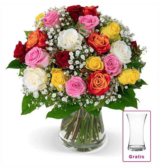 Rosenarrangement mit 15 bunten Rosen & Schleierkraut inkl. Vase für 27,98€