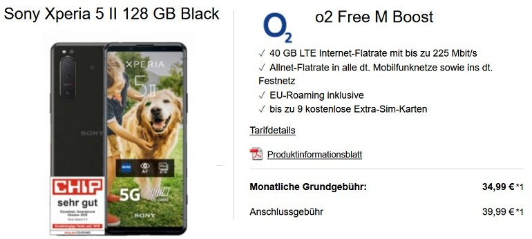 Sony Xperia 5 II o2 Free M Boost Allnet-Flat 40GB
