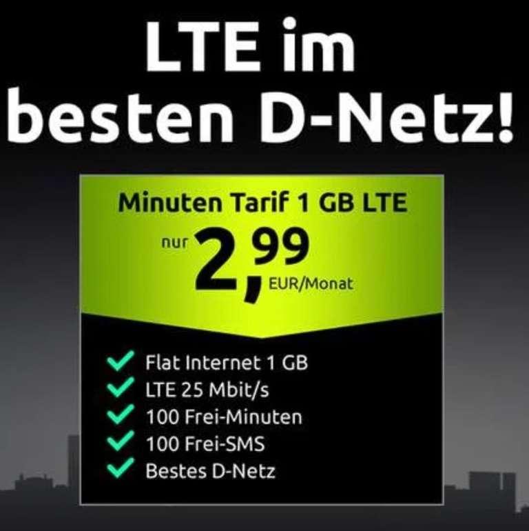 Crash Tarif im Telekom Netz (1GB LTE, 100 Freiminuten & SMS, VoLTE, WLAN Call und bei 25 Mbit/s) für 2,99€ mtl.