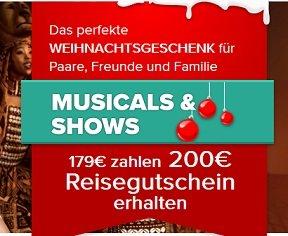 Nur Heute: 200€ Musical-Gutschein für nur 179€ - Viele Musicals zur Auswahl!