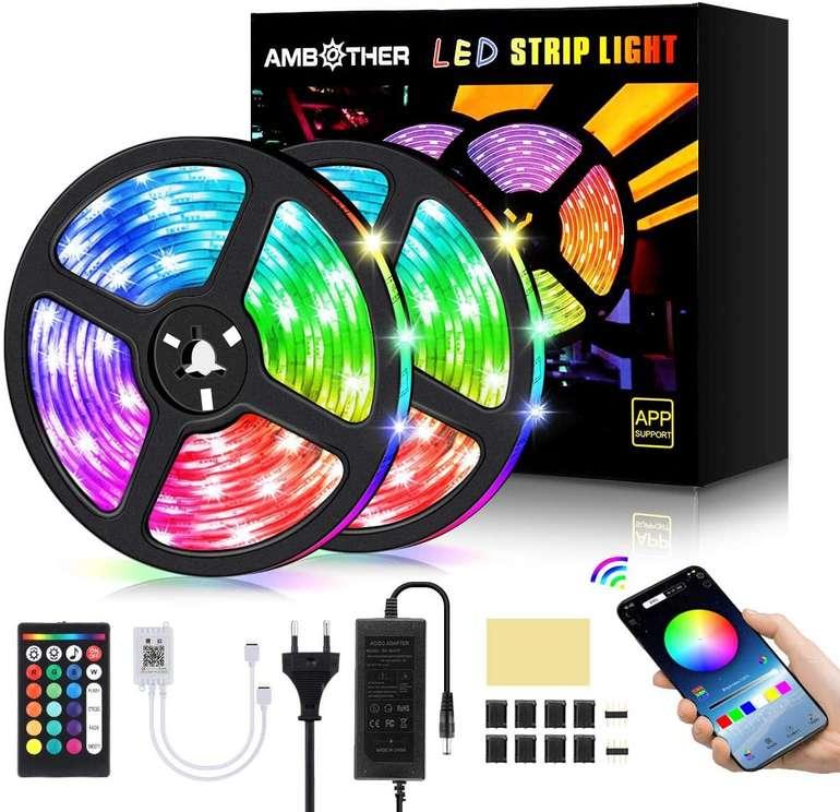 Ambother 10m LED Streifen (App, MusicSync) für 13,05€ inkl. Prime Versand (statt 29€)