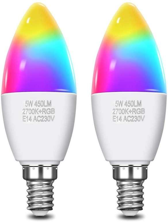 Kingso smarte WiFi Lampe im Doppelpack (E14, 5W, RGB) für 16,99€ inkl. Prime Versand (statt 23€)