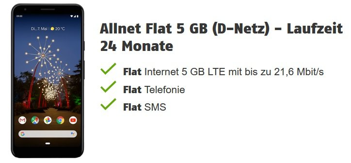 Google Pixel 3a XL Klarmobil Vodafone Allnet-Flat mit 5GB LTE 2