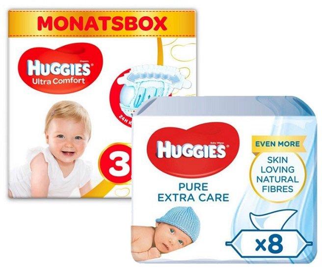Huggies Windeln (168 Stück / Größe 3, 4 oder 5) und 8x56 Baby-Feuchttücher für 32,82€