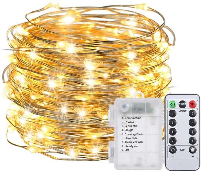 Lixada 10m LED Kupferdraht Lichterkette mit Fernbedienung für 6,99€ inkl. Versand (statt 14€)