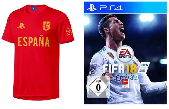FIFA 18 (PS4) + PlayStation FC - Espana - Trikot (L) für 20€ (statt 30€)