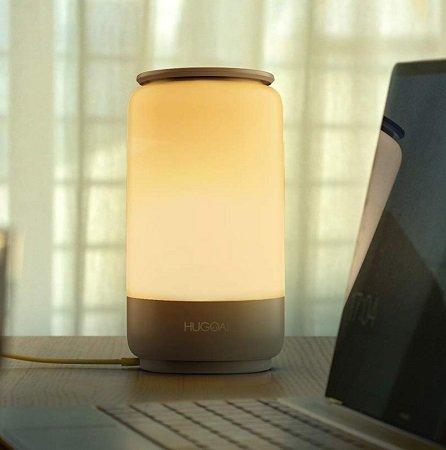 Hugoai dimmbare LED Tischlampe mit Farbtemperatur & RGB Farbwechsel für 24,11€