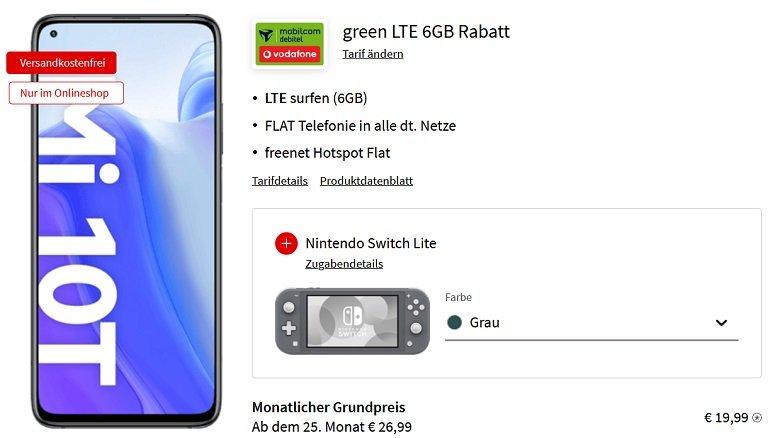Xiaomi Mi 10T + Nintendo Switch Lite MD Vodafone green Allnet-Flat mit 6GB LTE