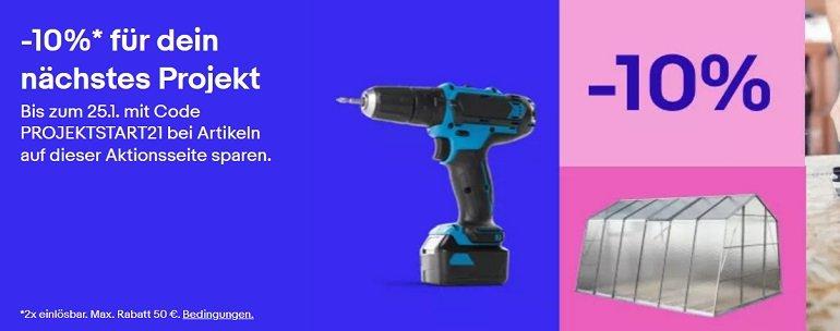 eBay 10% Rabatt auf Heimwerker & Werkzeug