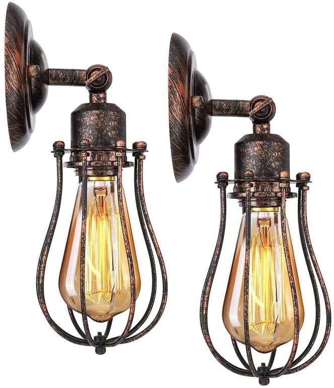 2er Pack KingSo rustikale Vintage Wandlampen für 18,81€ inkl. Versand