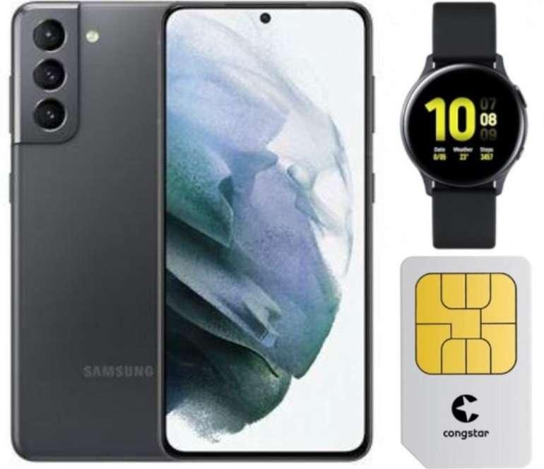 Samsung Galaxy S21 5G 128 GB (349€) + Active Watch 2 + Congstar Allnet Flat mit 12 GB LTE für 22€ mtl.